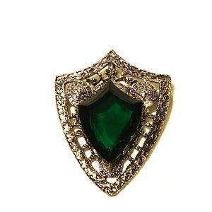 Huge Vintage Brooch\ Pendant  Green Glass